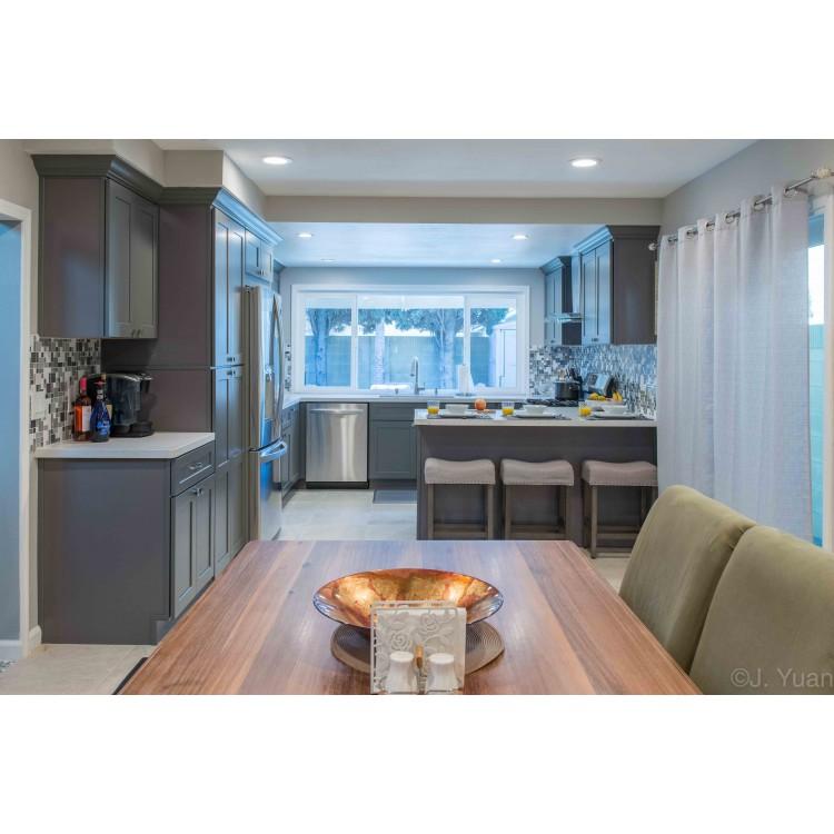 Steel Grey Blue Kitchen Cabinets